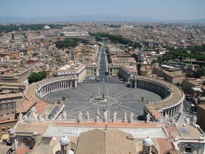 Piata Sfantul Petru vazuta de pe cupola bazilicii, Vatican, Roma